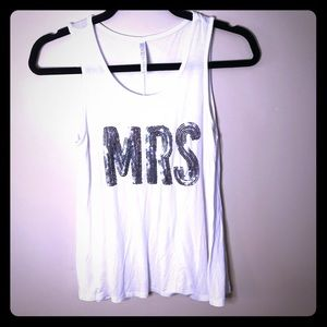 """David's Bridal """"Mrs."""" silver sequined tank top sm"""